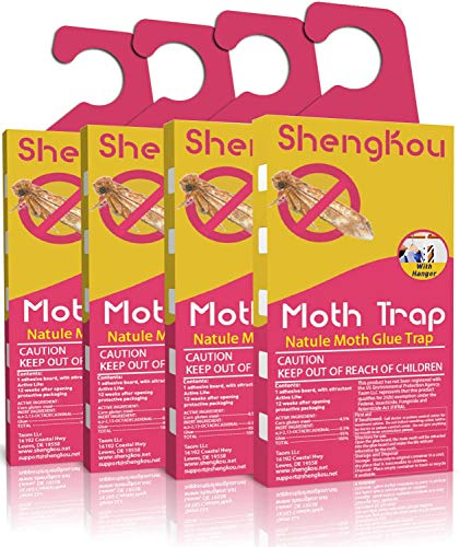 ShengKou Moth Traps for Clothes Moth | 4Pack | Refillable | Safe and OdorFree Natural Traps | Attractant CaseMaking Carpet Webbing Moth Wool Moth Closet Clothing Essentials Effective Guaranteed