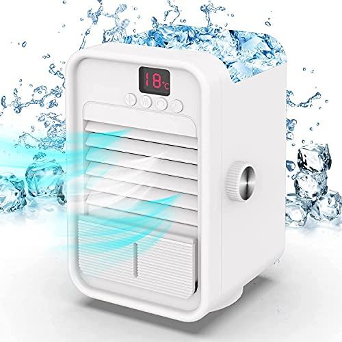 SENNILOX Ventilador de aire acondicionado portátil AC, enfriador de aire personal, mini humidificador evaporativo ventilador de escritorio con cabezal oscilante de ángulo amplio de 120° y pantalla de temperatura para el hogar, la oficina y el dormitorio