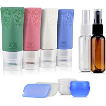 PACETAP Travel Bottles TSA Approved, 10 Pack Leak Proof Silicone Travel Containers for Toiletries, Travel Size BPA Free Refillable Cosmetic Bottles for Shampoo Soap Liquids - Women & Men