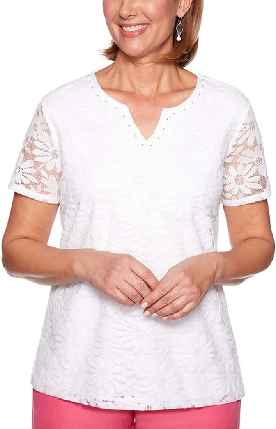 Alfred Dunner Women's 2019 Classics Solid Lace Knit Top