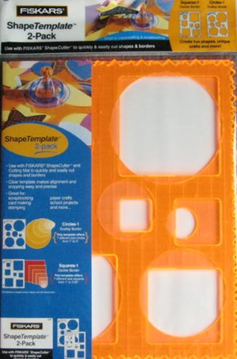 Fiskars Shape Template 2-Pack - Circles - Squares - Scallop Border and Deckle Border
