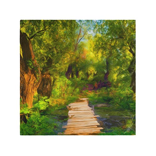 XiangHeFu Paisaje Pintura Árbol Verde Cena Servilletas de Tela Mesa de Interior Reutilizable Fácil de Limpiar Lavable