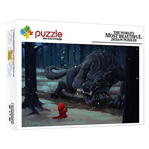 GFSJJ 1000 Piezas Puzzle 1000 Piezas Cuadro Caperucita Roja Y El Cuento De Hadas del Lobo Feroz Rompecabezas para Niño Infantiles Adolescentes Adultos Sensorial Juegos Educativos (38 X 26 Cm)