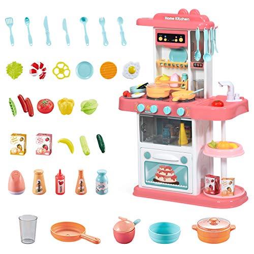 COSTWAY Kinderküche mit Spieluhr und Lichtern, Spielküche inkl. 38 STK. Zubehör, Kinderspielküche mit Wasserpumpe, Spielzeugküche für Kleinkinder ab 3 Jahren (Rosa)