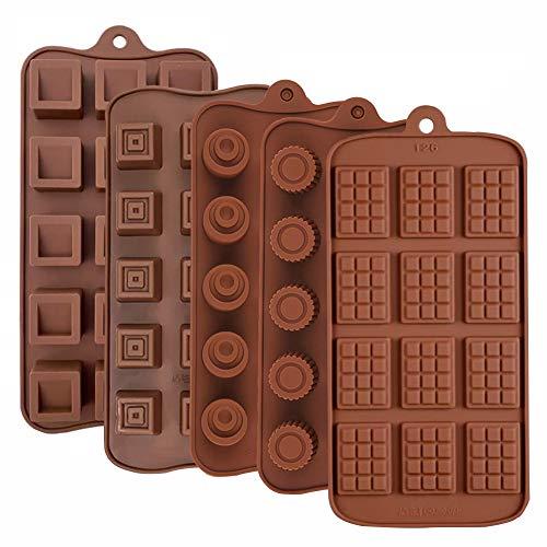 JAHEMU Stampo per Cioccolato in Silicone Natale Stampi per Muffin Cake, Pentole a Forma di Biscotti al Budino di Gelatina Cioccolatini Artigianali in Fai-da-Te (5PCS)