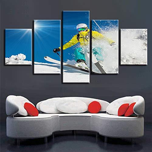 HOMOPK 5 Canvas foto foto's snowboarden sport zonneschijn landschap 5-delig schilderen achtergrond kunst behang wooncultuur HD druk woonkamer keuken decor poster geschenk Frameloos.
