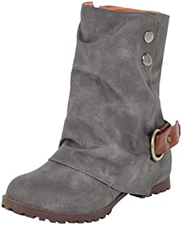ZX Boots Fashion Warm Short Leather Boots - Women Casual Buckle Artificial Leather Patchwork Shoes