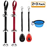Kytely 2 Pack Dog Doorbell Adjustable Dog Bell, Puppy Bells Potty Training Bells with 2 Dog Training Clickers and One Collapsible Dog Bowl for Door Knob, Dog Training, Housebreaking