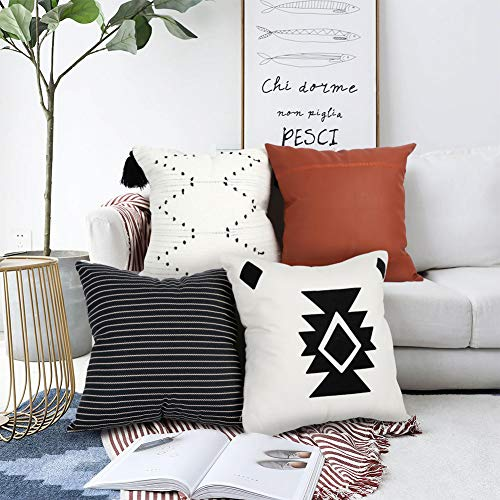 OurWarm Boho Throw Pillow Covers 18x18 Set of 4, Modern Farmhouse Decorative Pillow Cases, 100% Cotton Geometric Stripes Faux Leather Pillow Cover for Couch, Bed, Home Decor
