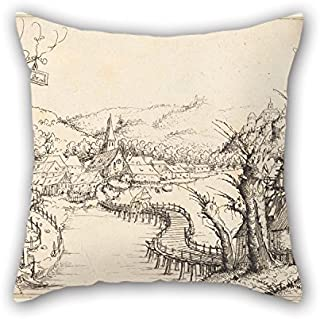 Loveloveu 16 X 16 Inches / 40 By 40 Cm Oil Painting Augustin Hirschvogel - River Landscape With Wooden Bridge Throw Pillow Covers,2 Sides Is Fit For Shop,dining Room,adults,pub,home Theater,sofa