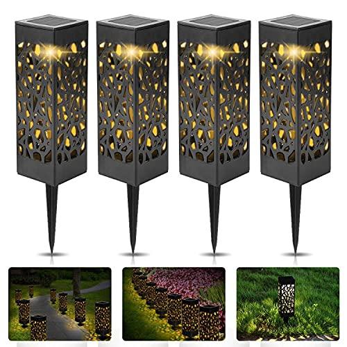 Vivibel Solarleuchte Garten, 【4 Pack】 warmweiße Solar Licht Garten Dekoration wasserdichte Solarlampen für außen, Garten, Patio, Rasen