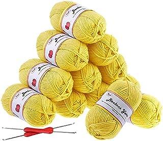 Fuyit Fil à crochet - 600 g (12 x 50 g) - Jaune - DK - Double fil à broder - 100 % acrylique - Lot de 2 crochets de 1200 m...