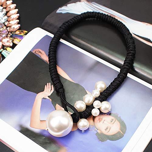 XZZZBXL Damen Halskette,Große Nachahmung Perlenketten Für Frauen Dickes Seil Einstellbare Erklärung Anhänger Halsketten Schmuck