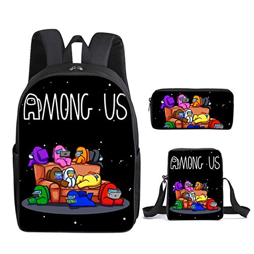 Among US 3pcs Backpack, Kids School Bags Student Bookbag for Girls Teens Game Fans Gifts, Among US Game Printing Bags, Teenage Boys Girls School Bag Travel Bag Pencil Case (19)