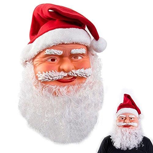 Costume de fêtes unisexe avec masque de Père Noël, bonnet rouge et barbe