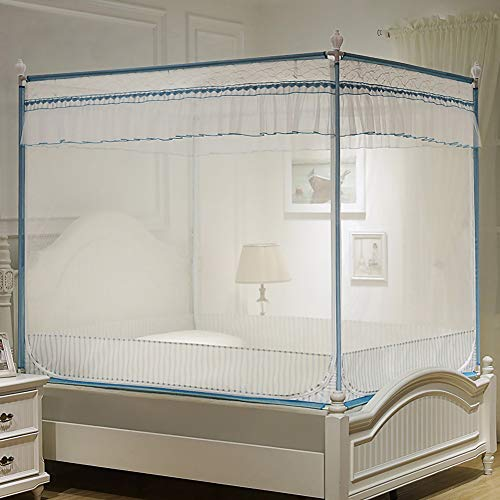Vliegengaas, vierkant, voor bed, vliegengaas, houder, ritssluiting, 3 deuren, grote afmetingen, comfortabel, ademend