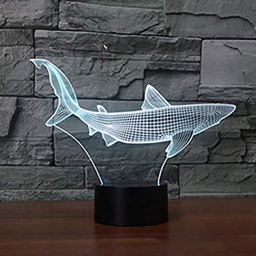 Nachtlampje 3D 7 kleuren wisselende 3D LED Cool Shark lamp nachtlicht Fish Touch tafellamp USB decoratie thuis kinderen geschenken 3D illusie bedlampje lamp garage