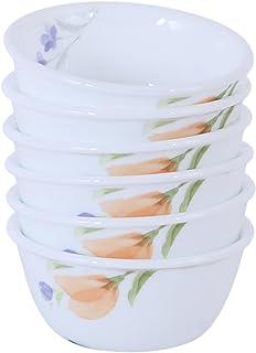 Corelle Begonia AC Glass Katori Bowl Set, 177ml, Set of 6, White