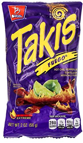 Bracel, Takis, Fuego Hot Chili Pepper & Lime Tortilla Chips, 9.9 Ounce Bag
