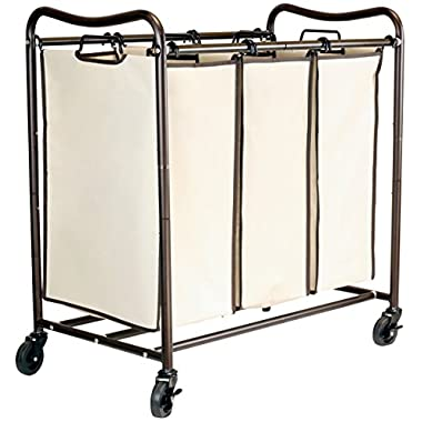 DecoBros Heavy-Duty 3-Bag Laundry Sorter Cart, Bronze