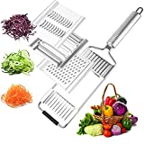 Vegetable Slicer Multi Purpose 3 in 1 Potato Onion Cheese Grater Cutter Stainless Steel Kitchen Mandoline with Handle Food Spiralizer for Vegetable