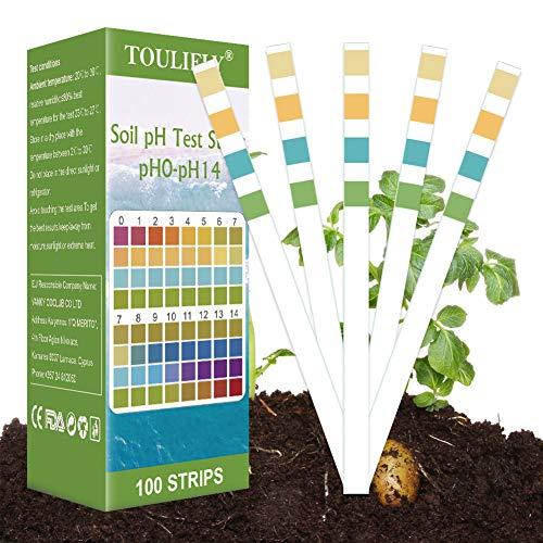 Toulifly Soil Tester,Soil pH Tester,Medidor de Suelo,Soil Testing Kit,pH Tester Suelo,Medidor de pH Medidor de Ácido y Álcali para Plantas de Suelo,FLO,Césped en Interior o Exterior(100 Tiras)