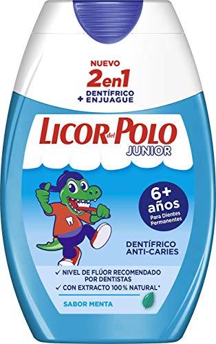 Licor del Polo - Pasta de dientes 2 en 1 Junior Menta Suave +6 años - Protección completa contra las caries, sarro, placa y problemas de encías - 1 ud de 75ml