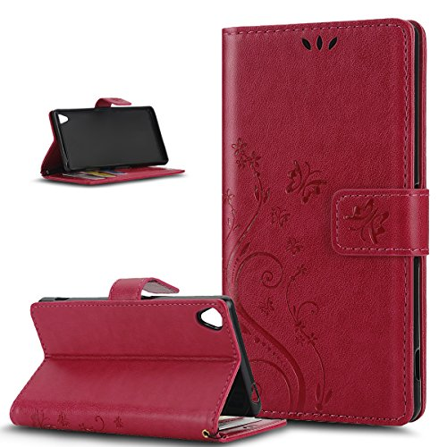Sony Xperia Z3caso, ikasus, diseño de mariposa piel sintética plegable tipo cartera, funda de piel tipo cartera con función atril para tarjetas de crédito ID soportes Case Cover para Sony Xpe