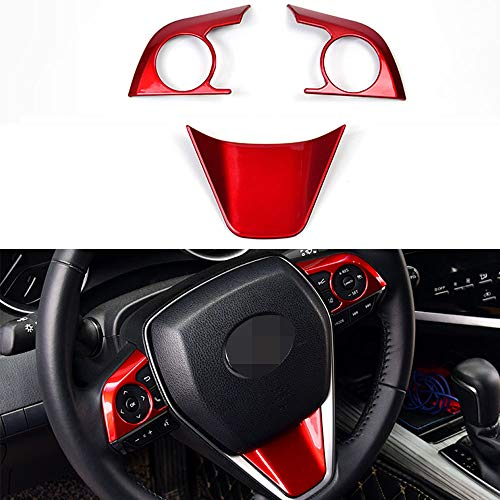 XITER 3PCS ABS Sport Style Red Steering Wheel Cover molding Cover Trims Interior Decaration Sticker Accessories for Toyota Camry 2018 2019 2020 2021