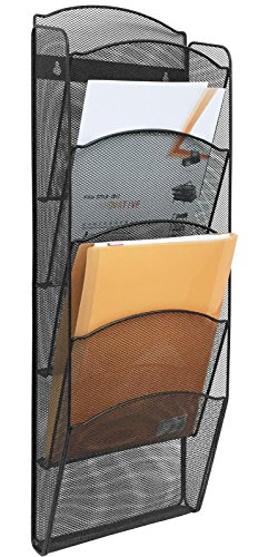 Greenco Mesh 5 Slot Wall Mounted Magazine Rack Holder, Black (GRC2579)