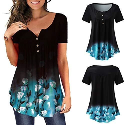 CEF Damen Bluse mit V-Ausschnitt Kurzarm Bluse Damen Shirt Sommer Bluse Damen T-Shirt Damen Bluse V-Ausschnitt Blumendruck Tunika Tops Buttons Kurzarm T-Shirt Hemd mit Blumendruck am Saum