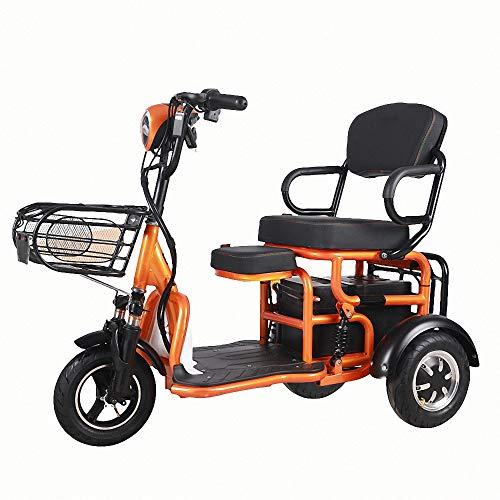 Miarui 3-Rad Double Senioren-Scooter ohne führerschein Elektroroller 500W 20Km/H Laufleistung 30-55 km DREI-Gang-Schaltung Geeignet für ältere Menschen, Behinderte,Gelb,30km