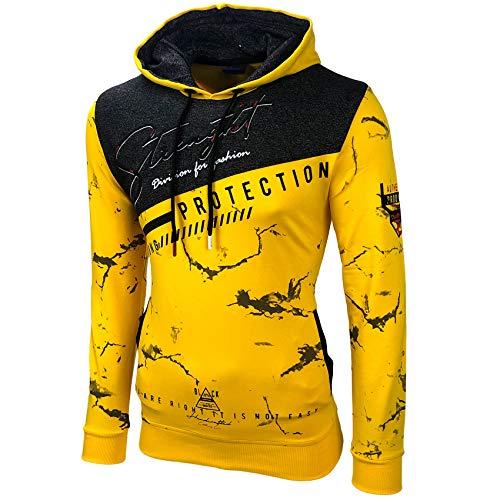 Baxboy Herren Pullover Hoodie Sweatjacke Longsleeve Sweatshirt Jacke Langarm Kapuzenpullover Hoody Sweater 2628, Größe:L, Farbe:Gelb