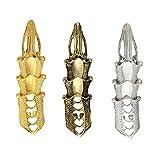 Anday - Anillos para hombres y mujeres, 3 unidades, estilo retro y punk, para dedo completo, diseño gótico, color cobre, plateado y dorado