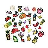 Hierro en parches bordado cosido Termoadhesivos para ropa, chaquetas, mochilas, jeans,33pcs fruit set: Yintao, pineapple, watermelon and banana