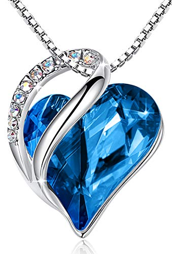 LeafaelquotInfinity Lovequot Heart Bermuda Blue Pendant Necklace Made with Swarovski Crystals Semptember Birthstone Jewelry Gifts for Women Silvertone 17quot2quot
