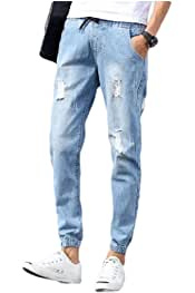 NestYu Men Simple Straight Leg Plus-Size Pockets Washed Relaxed Denim Jeans