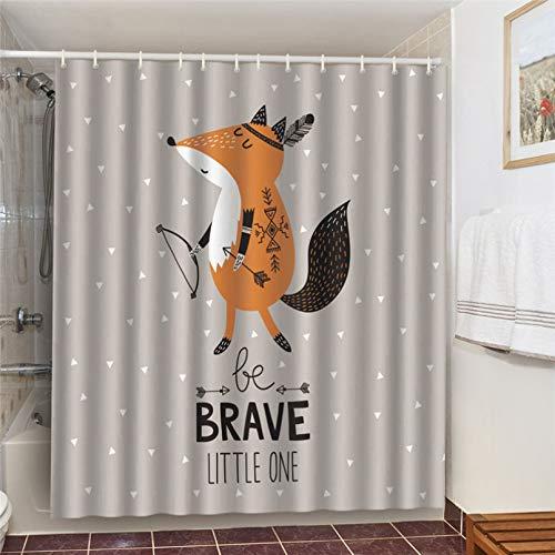 Duschvorhang Brave Indian Tribe Fox wasserdichte Duschvorhänge Cartoon Tiere Badezimmer Dekoration Vorhang 3D Bad Dekor Waschbar-180cm x 180cm