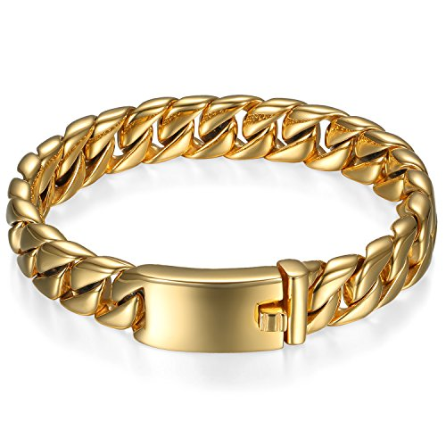 OIDEA Edelstahl Herren Armband Gold 12mm Breite Exquisit Panzerarmband Motorradfahrer Armreif Armschmuck Armkette Handgelenk, 21cm
