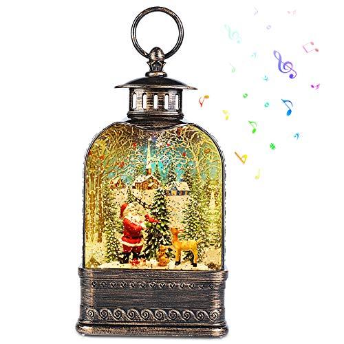 memumi Luz de Navidad, Lámpara de Navidad Linterna de Globo de Nieve Musical de Navidad Santa Claus Music Box Christmas Swirling...
