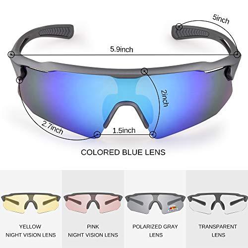 Snowledge Sportbrille Fahrradbrille Herren und Damen Sonnenbrille Erwachsene Sport Radbrille Polarisiert Windschutz Brille Motorradbrille Rahmen TR90 UV400 Schutz - 2