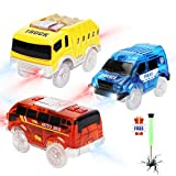 Tracks Cars only Replacement, Race Cars for Magic Tracks Glow in The Dark, Light up Racing Car Track Accessories with 5 Flashing LED Lights, Compatible with Most Tracks for Kids Boys and Girls(3pack)