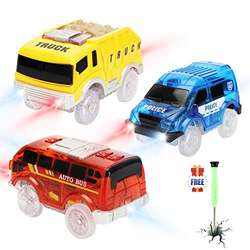 Tracks Cars only Replacement, Race Cars for Tracks Glow in The Dark, Light up Racing Car Track Accessories with 5 Flashing LED Lights, Compatible with Magic Tracks for Kids Boys and Girls(3pack)