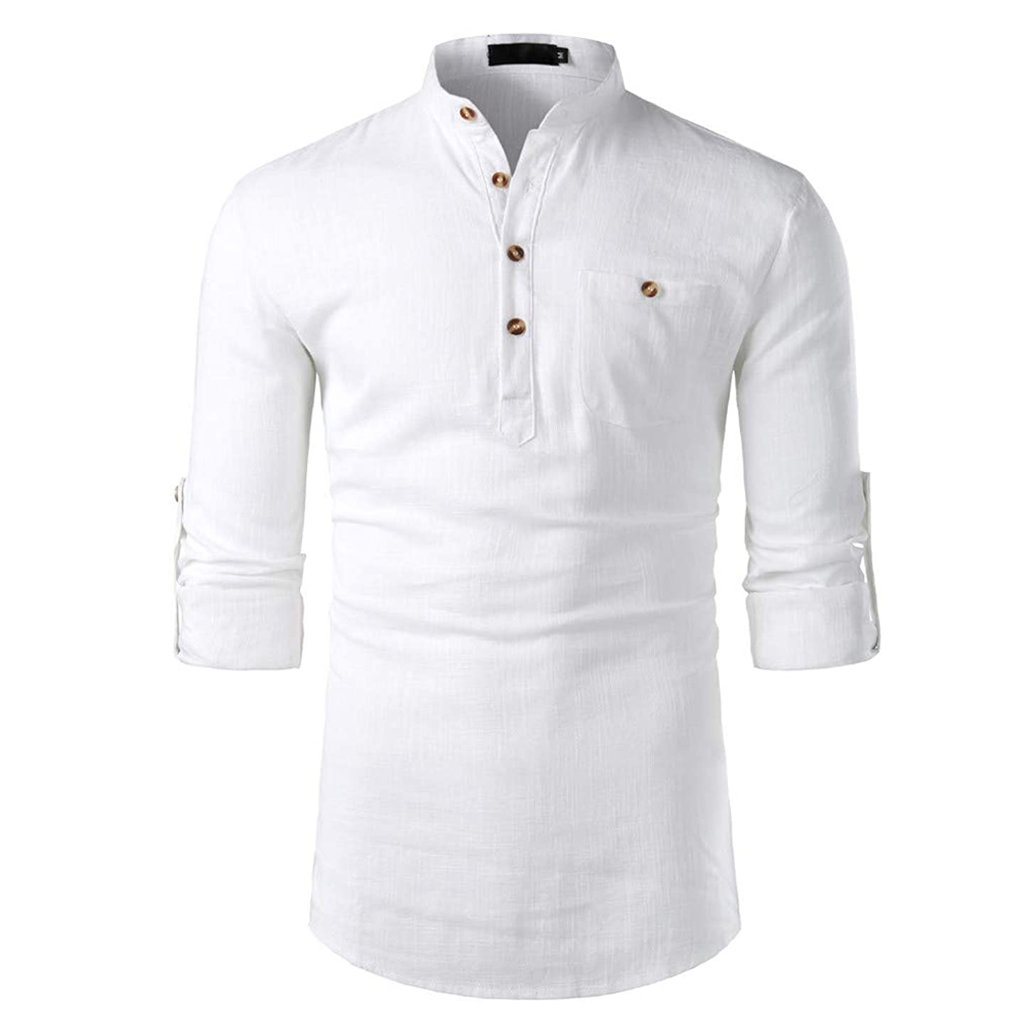 LUCAMORE Men Casual Solid Linen Long Sleeve T-Shirt Fashion V-Neck Button Up Shirts Slim Fit Blouse Tops
