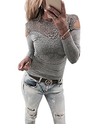 Minetom Femmes Sweatshirt Dentelle Patchwork Creux Manches Longues T-Shirt Blouse Pull Gris FR 38