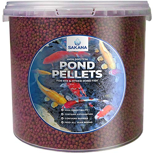 Sakana High Protein Fish Pellets | Premium Quality Complete Aquatic Food Mixture| Healthy and Natural Daily Feed for Aquarium & Pond Animals | Easily Digestible & A Great Source of Vitamins (1L)