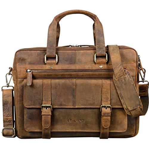 STILORD 'Alvaro' Vintage businesstas Echte lederen laptoptas 15,6 inch aktetas Grote schoudertas voor werkbureau Uni, Kleur:middel - bruin