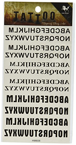 SPESTYLE Body Art Disegno del Tatuaggio Ticker 26 Lettere Inglese con Diversi Caratteri tipografici Adesivi Tatuaggi temporanei