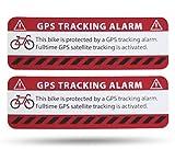 SECYOURITY Pegatinas de advertencia GPS para bicicleta, 2 unidades, calidad prémium, 75 mm x 25 mm, color plateado, para colocar desde el exterior, prevención de robos de bicicletas (rojo, 2)