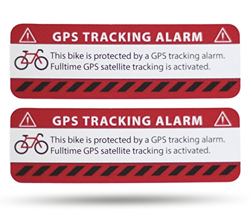 SECYOURITY GPS Alarm Aufkleber Fahrrad - 2 Stück Warnaufkleber - Premium Qualität - 75 mm x 25 mm Silber - von Außen anzubringen - Prävention Fahrraddiebstahl (rot, 2)